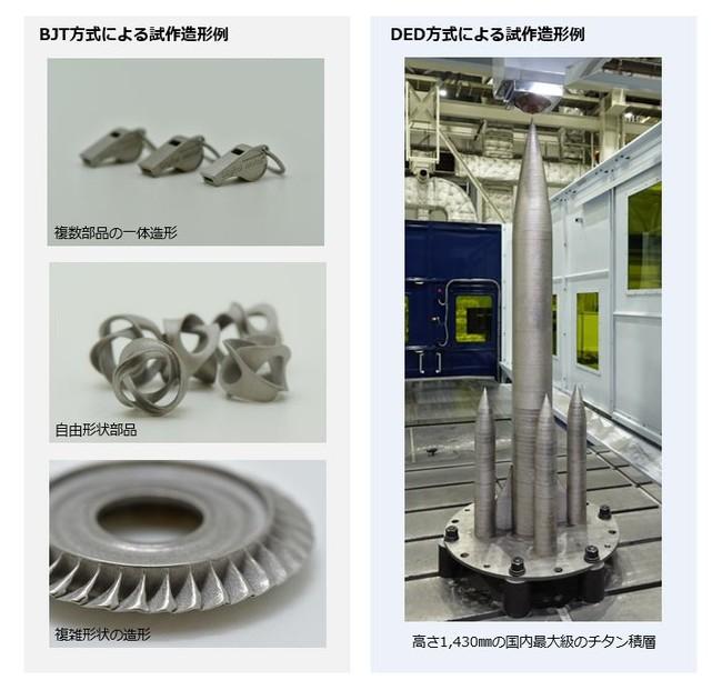 BJT方式、DED方式の造形例比較(出典:三菱重工工作機械)